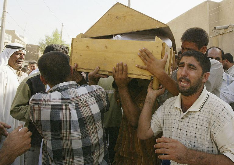 Mourners carry the coffins of Iraqi Sunni men found dead on September 28, 2005 in Baghdad, Iraq. Bodies of seven Iraqi Sunni men were found on September 28, 2005 north of Baghdad, Iraq.
