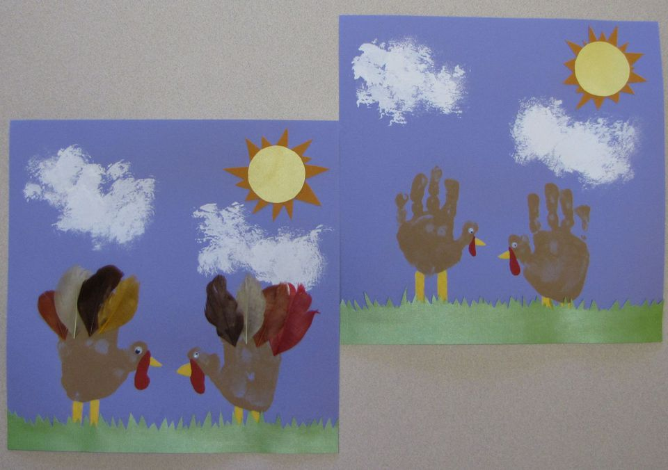 A picture of the Thanksgiving turkey handprint art project for kids