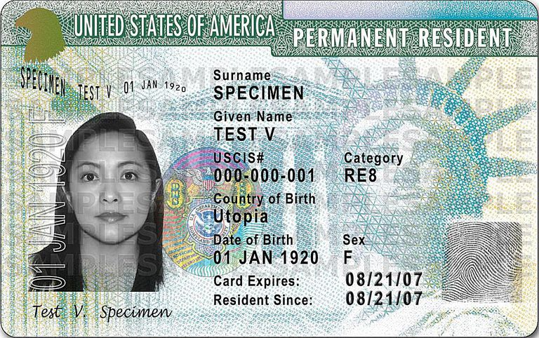 Sample of a US immigration green card