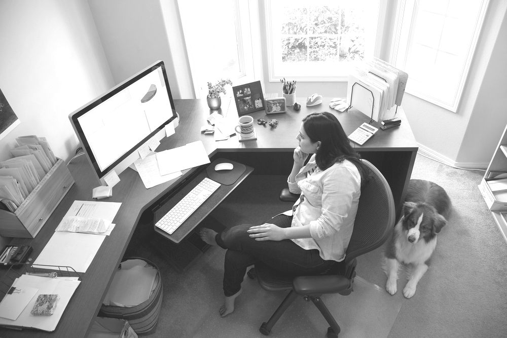 business woman working at a computer in a home office