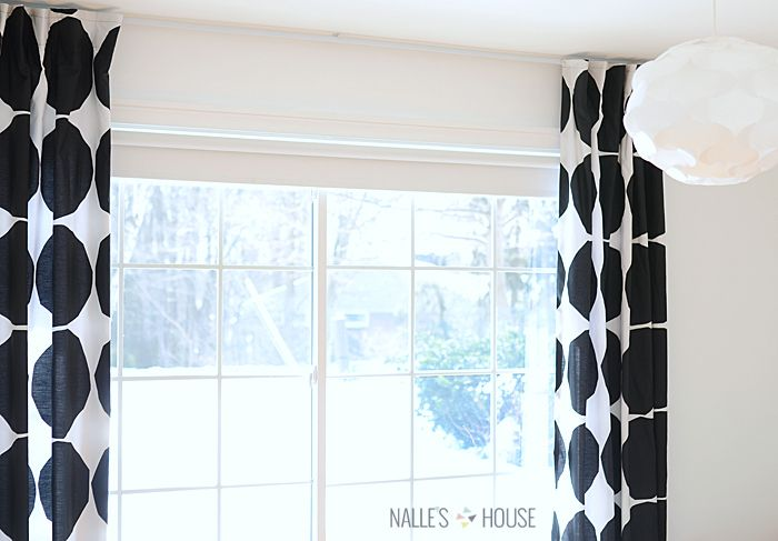 black and white dotted curtains