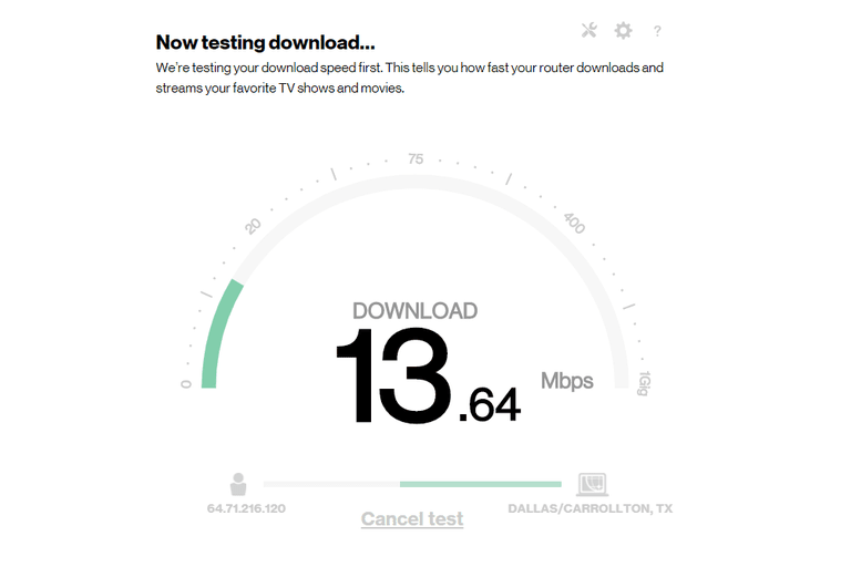 Screenshot of the Verizon internet speed test