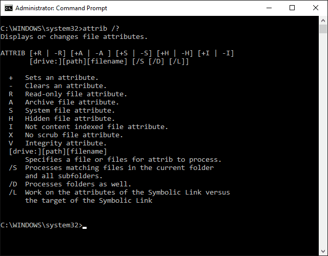 Screenshot of the attrib command in Windows 10