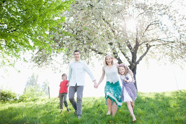 Family in springtime