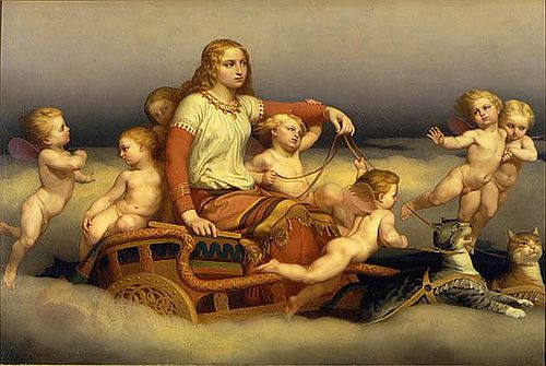 Freyja, Cats and Angels, by Nils Blommer (1816-1853)