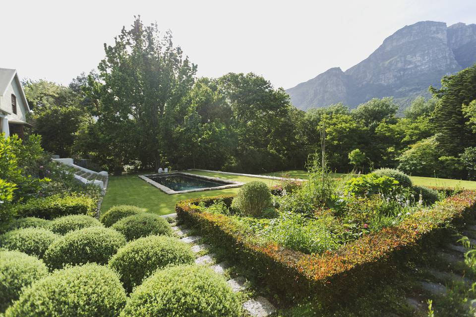 Lush sunny green garden with mountain view