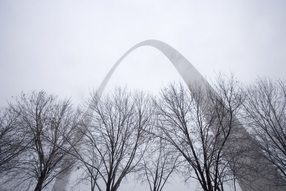 Gateway Arch in Winter Storm