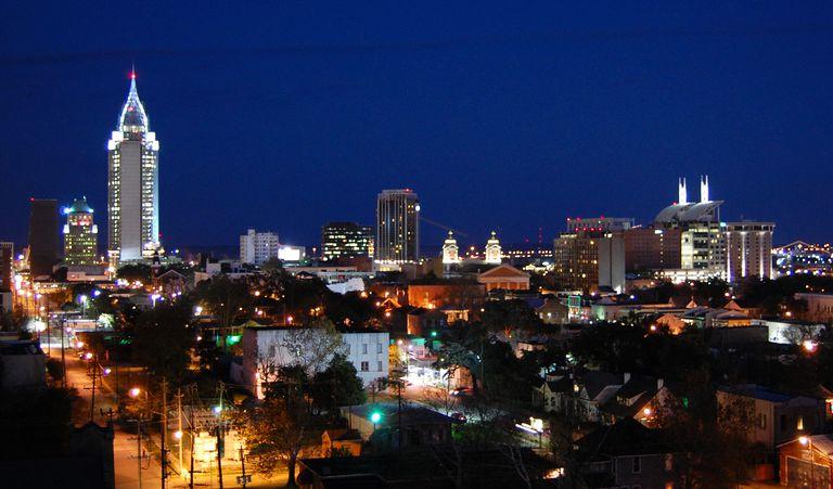 Mobile, Alabama at night.