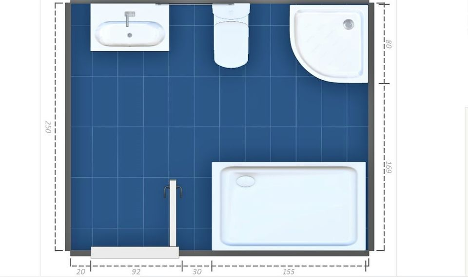 15 free sample bathroom floor plans small to large for Bathroom tile planner