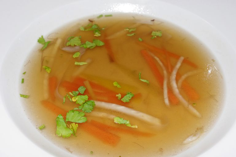 Clear vegetable broth soup