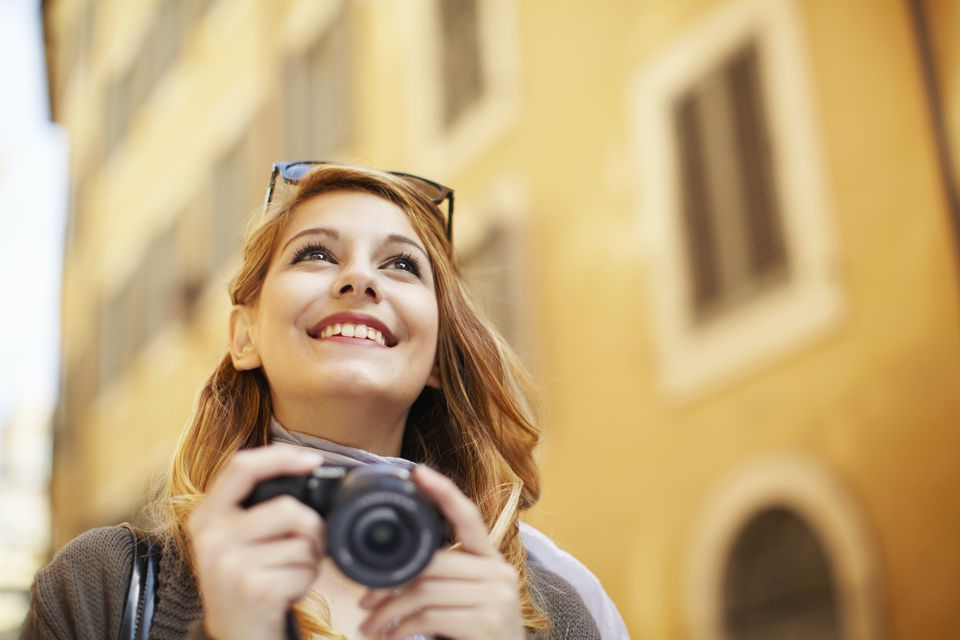 woman traveler with camera