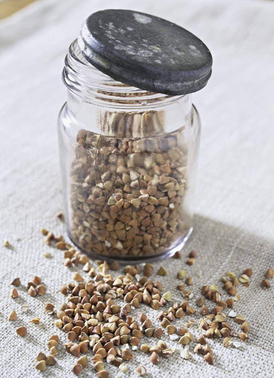Jar of buckwheat groat