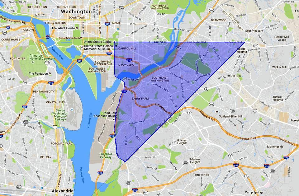 Southeast DC Map