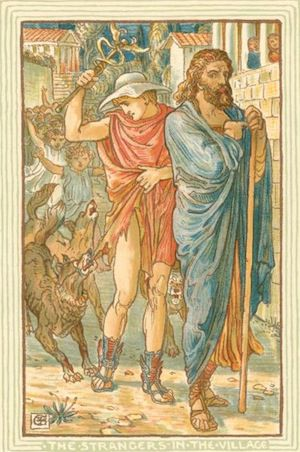 Zeus and Hermes. Image ID: 1622957. The strangers in the village. (1892)