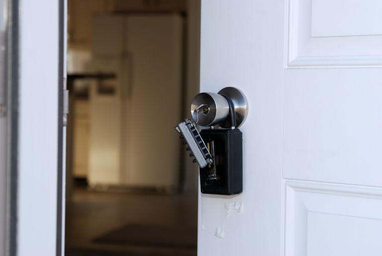 key lock box on home door handle