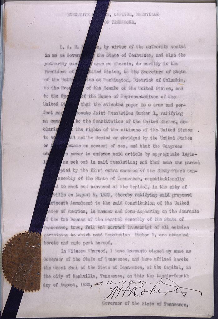Ratification Of The Nineteenth Amendment