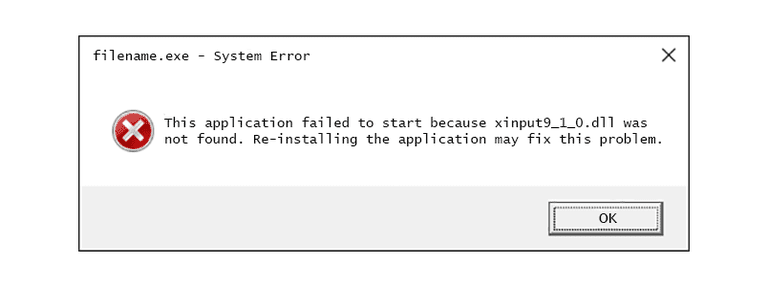Screenshot of an xinput9_1_0.dll error message in Windows