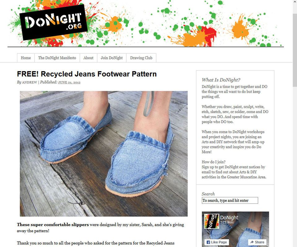 FREE! Recycled Jeans Footwear Pattern