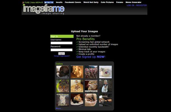 The imageframe homepage