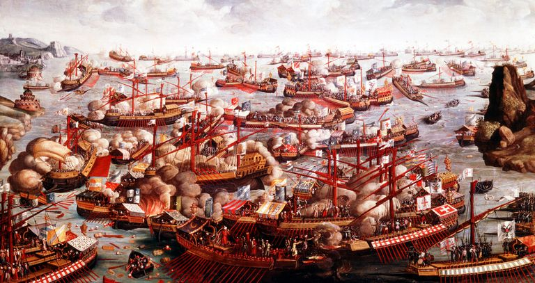 Battle of Lepanto, October 1571. The fleets of Spain, Venice and the Pope, under the command of Don Juan of Austria, defeated the Turks in the last great sea battle involving galleys. From the National Maritime Museum, London.