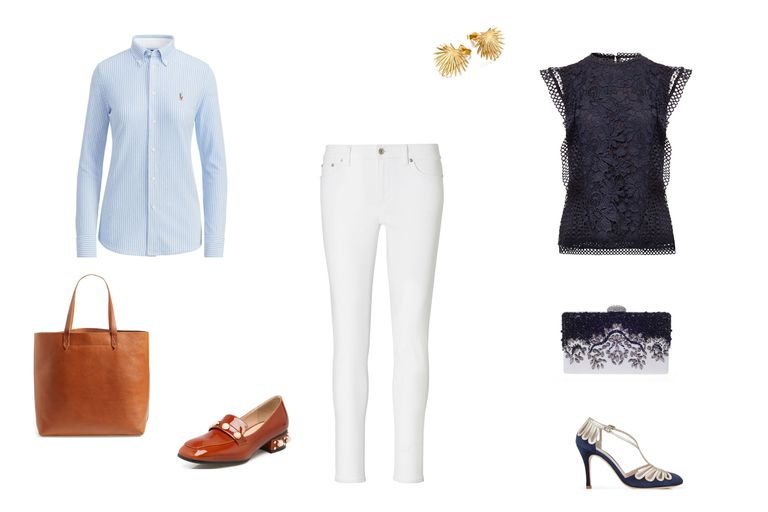 Day to night outfit idea with white jeans