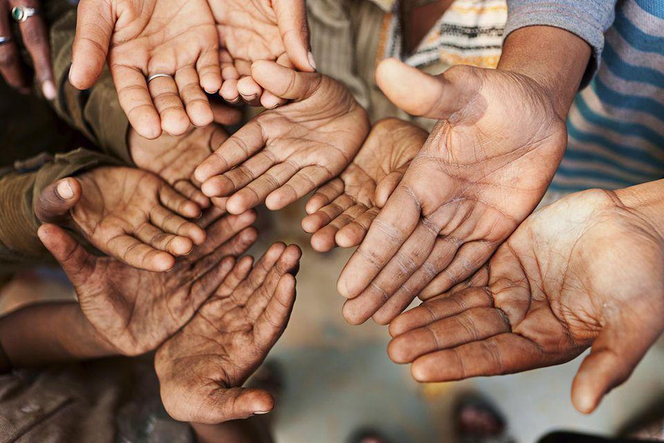 'Hands of poor, India'