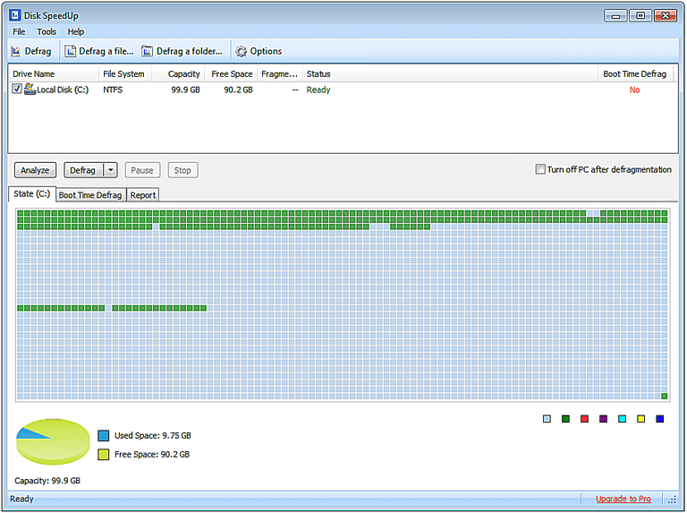 Screenshot of Disk SpeedUp v5 in Windows 7