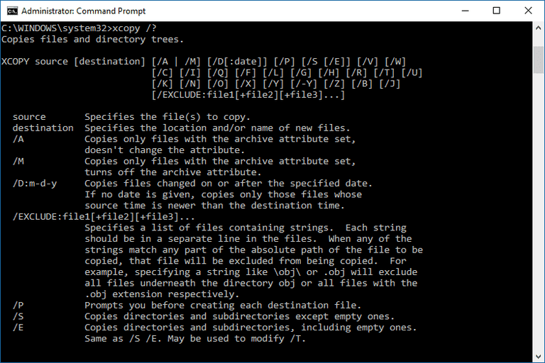 Screenshot of the xcopy command in Windows 10