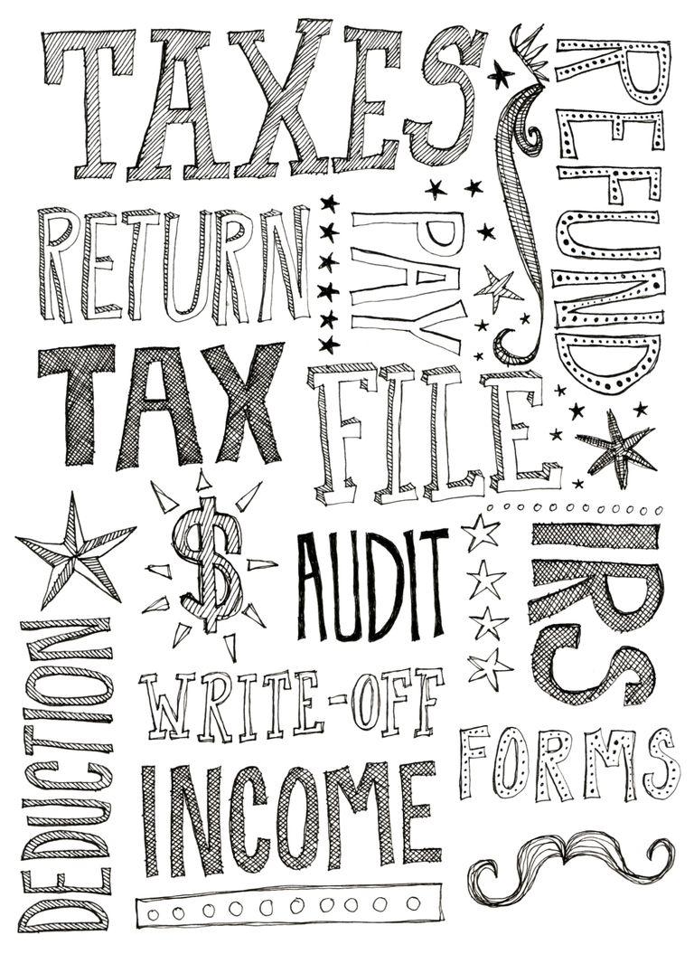 Cartel con palabras relacionadas con el pago de impuestos