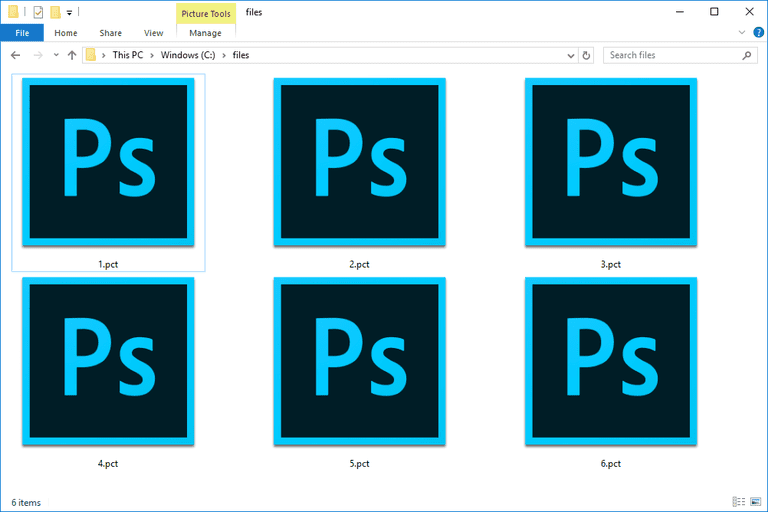 Screenshot of several PCT files in Windows 10 that open with Photoshop