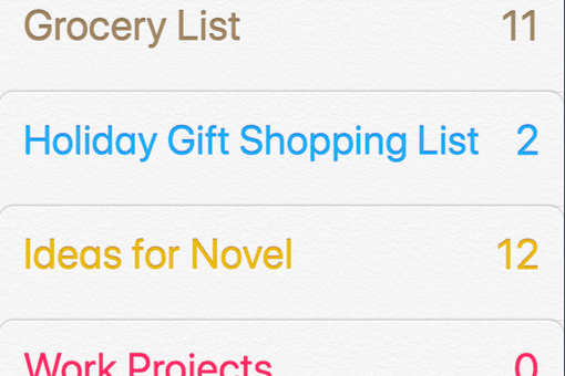 The List menu of the Reminders app on the iPhone X