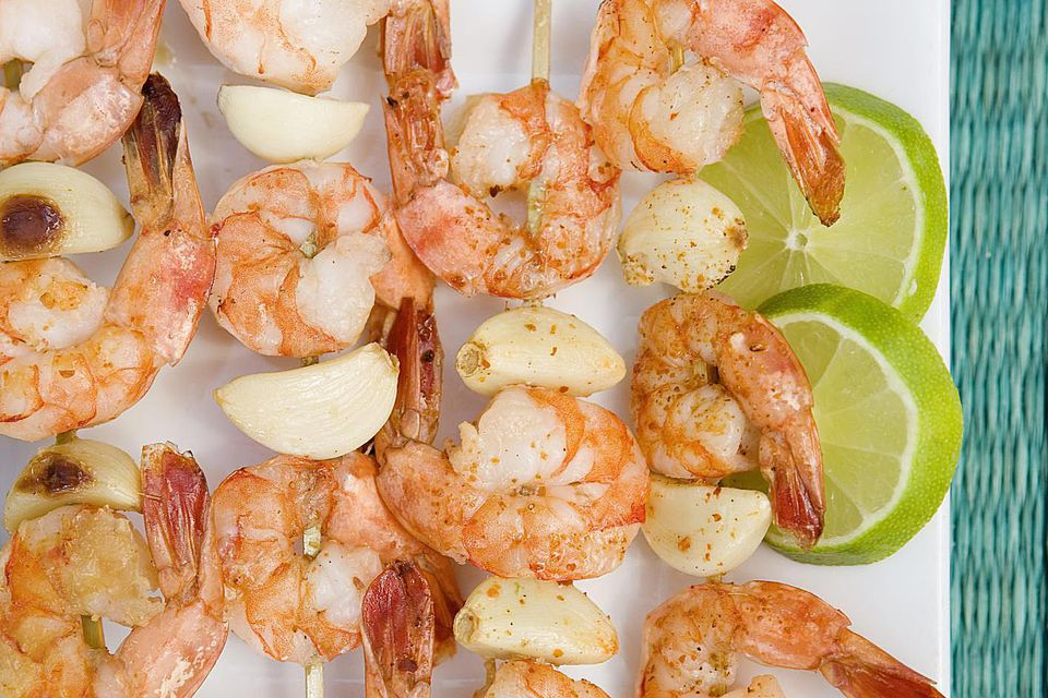 Skewered grilled shrimp