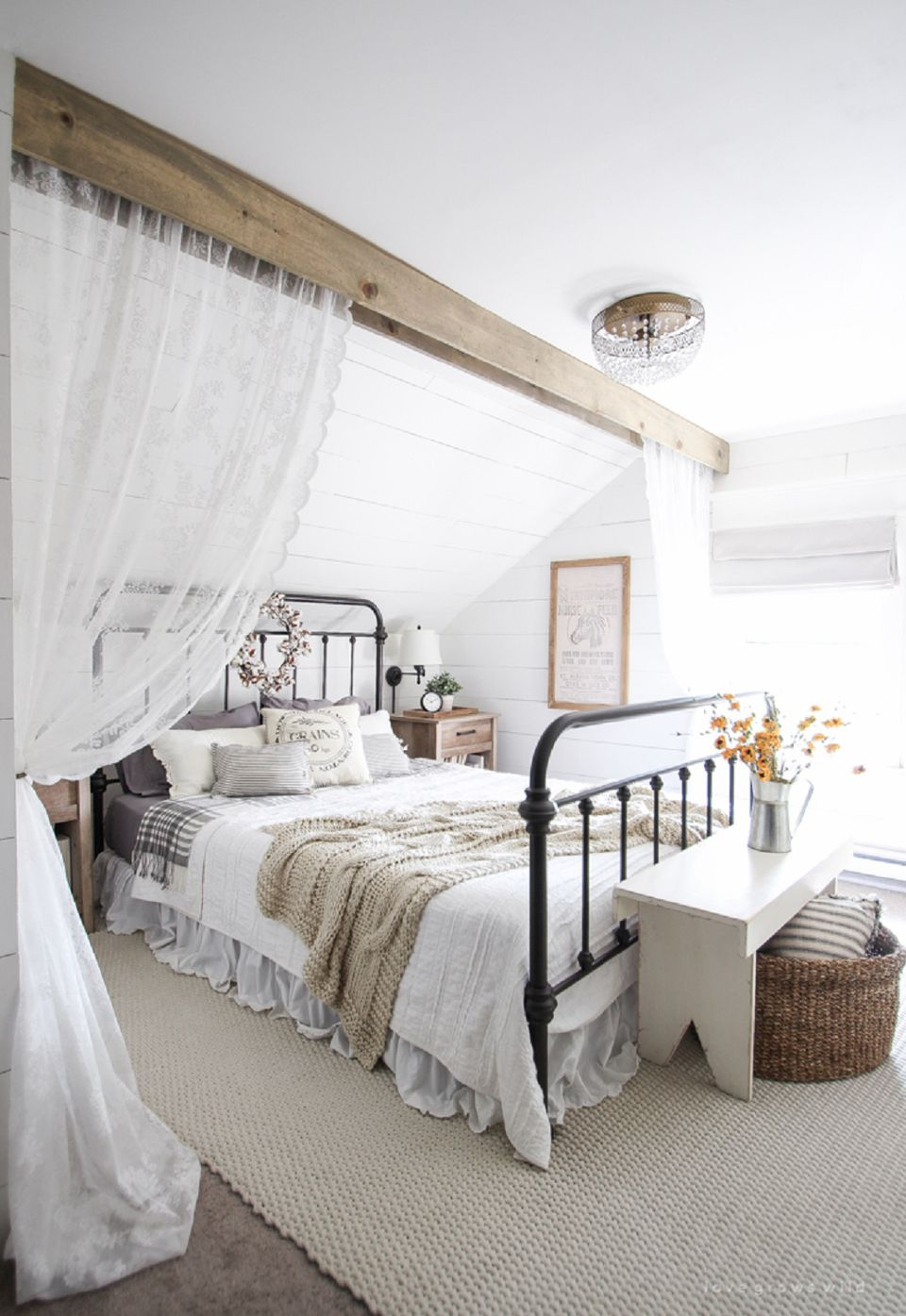 Beautiful farmhouse bedroom. Farmhouse Style Bedroom Ideas