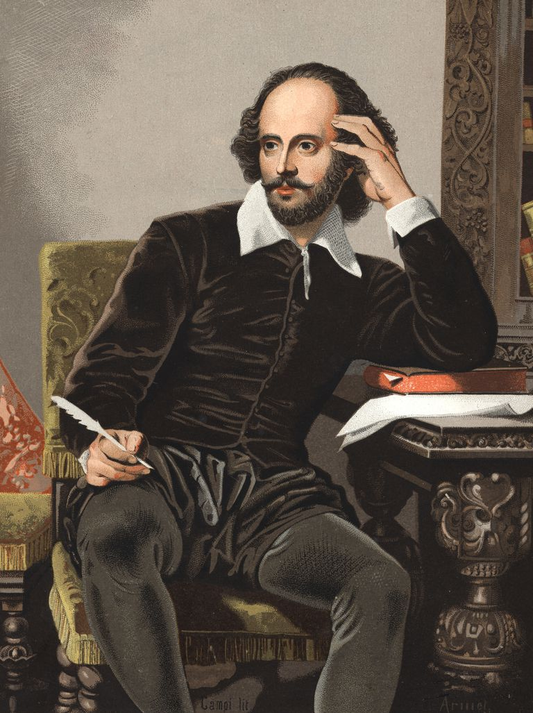 Portrait of William Shakespeare 1564-1616. Chromolithography after Hombres y Mujeres celebres 1877, Barcelona Spain