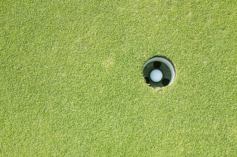 a golf ball that is holed