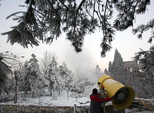 If the conditions are right, you can make man-made snow by mixing pressurized water and air.