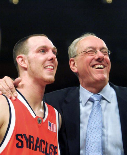 Syracuse coach Jim Boeheim and guard Gerry McNamara