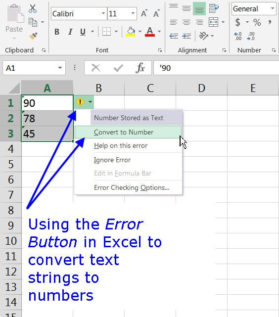 Using the Error Button to Convert Text Strings to Numbers in Excel