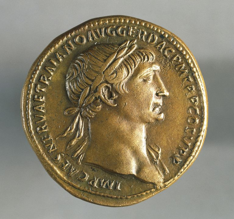 Sestertius of Trajan, minted in Rome, bearing image of emperor, recto, Roman coins, 1st century AD