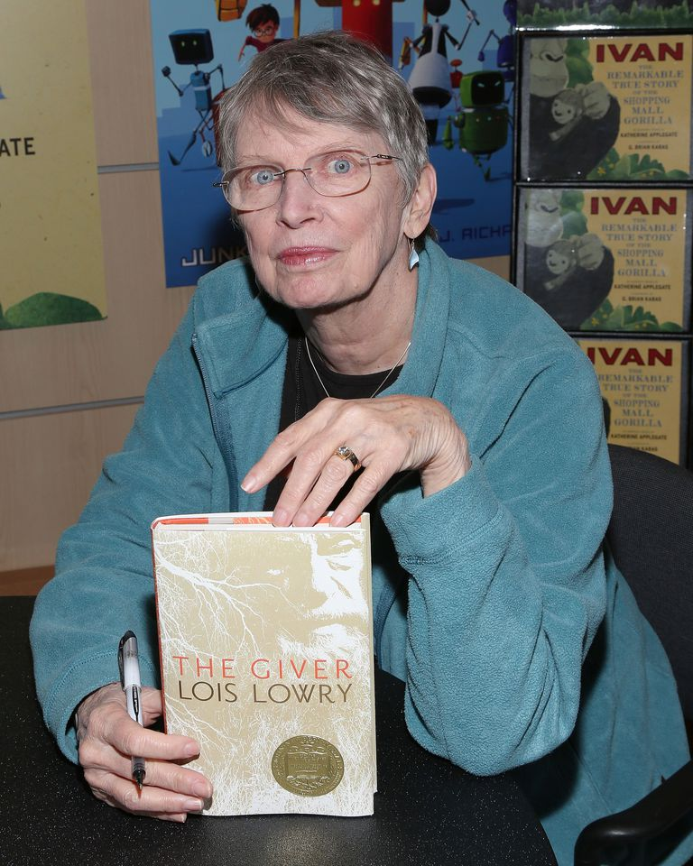 Author Lois Lowry with her young adult novel The Giver