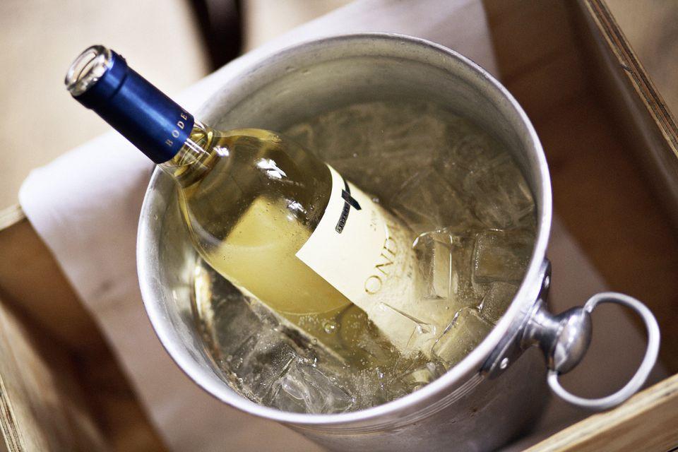 Ice bucket with white wine