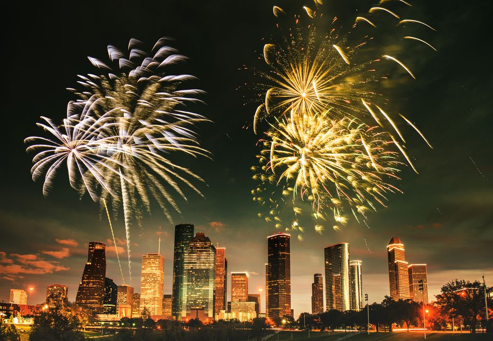 Fireworks Over Downtown Houston
