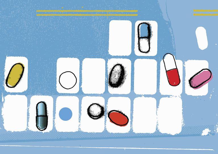 Pills in pill organizer