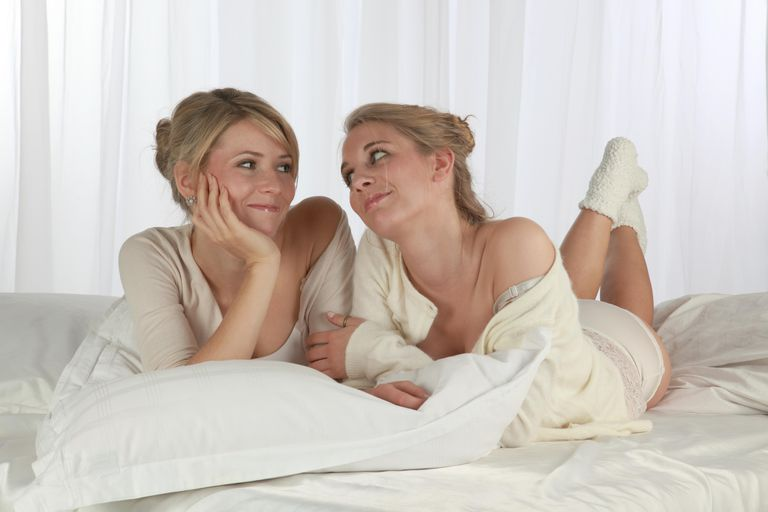 Two woman on bed