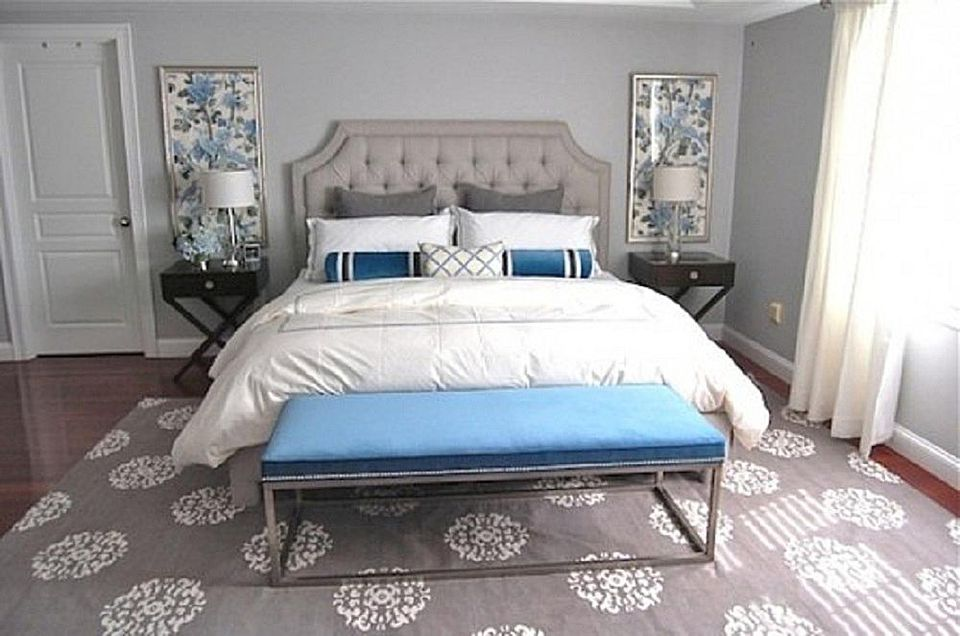 Gorgeous blue and gray bedroom.