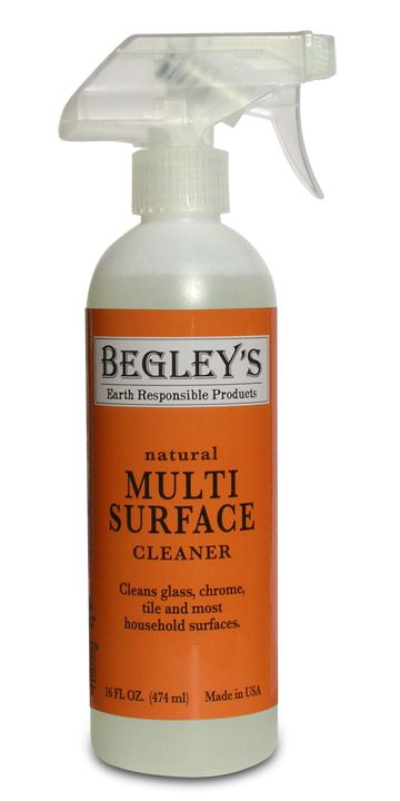 Begley's Multi-Surface Cleaner cleans stainless steel naturally.