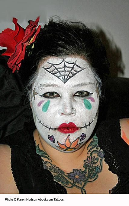 halloween face painting ideas sugar skull by karen hudson - Halloween Skull Face Paint Ideas