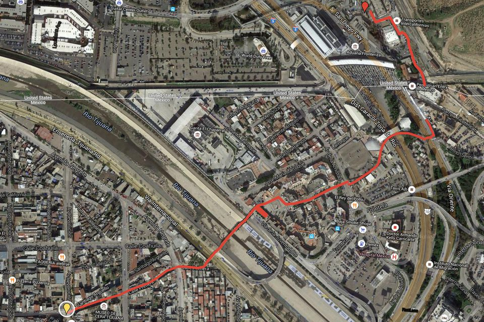 How To Cross The Tijuana Border Step By Step - Aerial maps over mexican us border