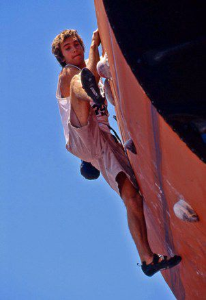 Chris Sharma, one of the best climbers in the world, competes in the 1999 X-Games in San Francisco.