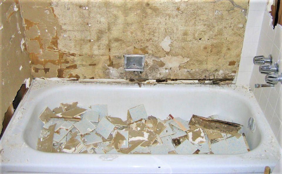 Construction Debris in Bathtub